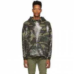 R13 Green Camouflage Sequined Hoodie R13W3927-42
