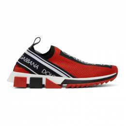 Dolce and Gabbana Red and Black Sorrento Sneakers CS1713 AH677