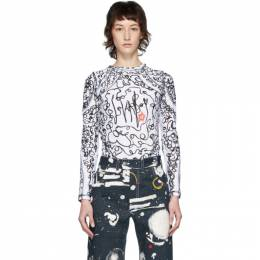 White and Black Scribble Sports T-Shirt Charles Jeffrey Loverboy CJLSS20SPST