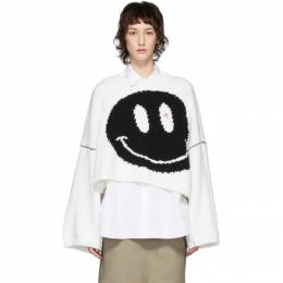 Raf Simons White Oversized Wool Smiley Crewneck Sweater 201-836 50080