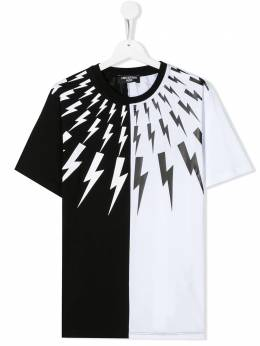Neil Barrett Kids TEEN colour-block lightning bolt T-shirt 024219