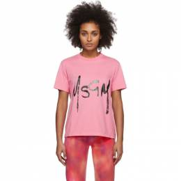 MSGM Pink Spray Logo T-Shirt 2841MDM74 207298