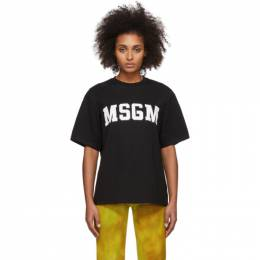 MSGM Black College Logo T-Shirt 2841MDM162 207298