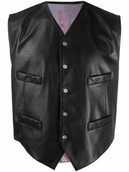 collarless leather jacket Magliano H28005990