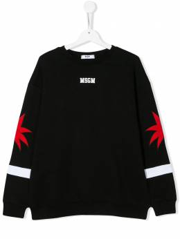 MSGM Kids TEEN embroidered palm tree sweatshirt 022357