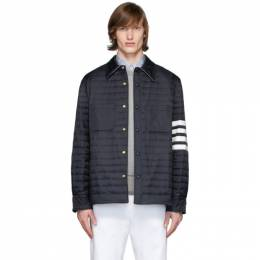 Thom Browne Navy Down 4-Bar Quilted Shirt Jacket MJD068X-05411