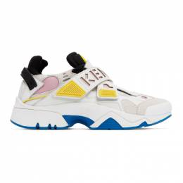 Kenzo White and Pink Sonic Velcro Sneakers F952SN351L52