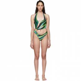 SSENSE Exclusive Green and Blue Half Moon One-Piece Swimsuit Louisa Ballou Sex Wax
