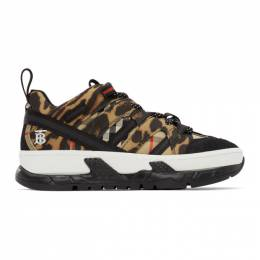 Burberry	 Black and Beige Leopard Union Sneakers 8025550