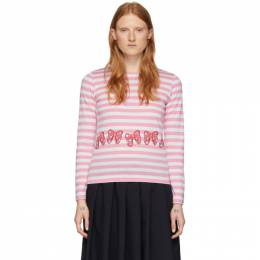 Pink and White Disney Edition Stripe Ribbons T-Shirt Comme des Garcons Girl NE-T002-051