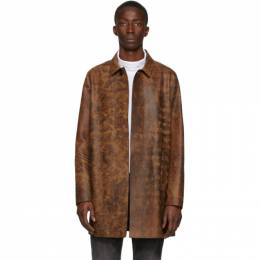 1017 Alyx 9Sm Brown and Black Leather Coat AAMOU0084LE02BRW0001