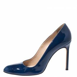 Manolo Blahnik Blue Patent Leather BB Pumps Size 39 268864