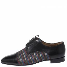 Christian Louboutin Black Leather and Multicolor Woven Straw Daviol Derby Size 42.5