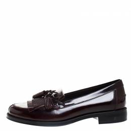 Tod's Maroon Leather Tassel Bow Fringe Detail Loafers Size 36 Tod's