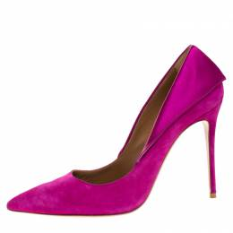 Aquazzura Purple Suede Satin Hollywood Pointed Toe Pumps Size 39