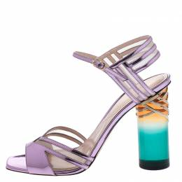 Nicholas Kirkwood Metallic Purple Leather And Mesh Lucite Heel Ankle Strap Sandals Size 40 266785