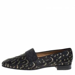 Christian Louboutin Black/Gold Leopard Print Fabric Loafers Size 42