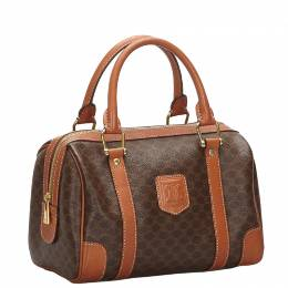 Celine Brown PVC Macadam Boston Bag