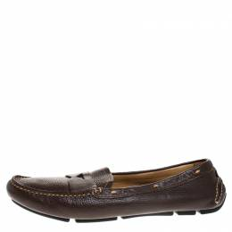 Prada Dark Brown Leather Loafers Size 39