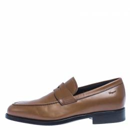 Salvatore Ferragamo	 Tan Leather Penny Loafers Size 40.5