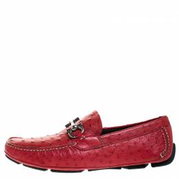 Salvatore Ferragamo	 Red Ostrich Effect Leather Parigi Driving Loafers Size 40