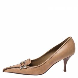 Prada Light Brown Leather Buckle Pointed Toe Pumps Size 37.5