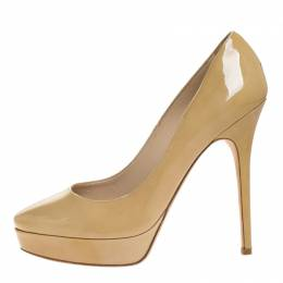 Jimmy Choo Cream Patent Leather Cosmic Platform Pumps Size 39