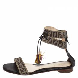 Fendi Brown Zucca Coated Canvas Tassel Open Toe Ankle Wrap Sandals Size 38 268162