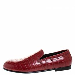 Dolce and Gabbana Red Crocodile Leather Smoking Slippers Size 43