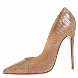 Christian Louboutin Beige Python Leather So Kate Pointed Toe Pumps Size 37 265408
