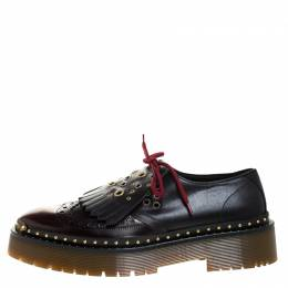 Burberry	 Two Tone Brogue Leather Bissett Fringe Detail Lace Up Platform Derby Size 41