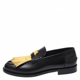 Burberry	 Black/Yellow Leather Bedmoore Fringe Detail Penny Loafers Size 44