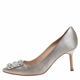 Manolo Blahnik Grey Satin Hangisi Crystal Embellished Pumps Size 38 266423