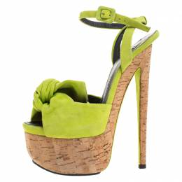 Giuseppe Zanotti Design	 Neon Green Suede Bow Ankle Strap Platform Sandals Size 37.5 264900