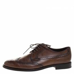 Tod's Brown Leather Brogue Lace Up Derby Size 41.5 Tod's