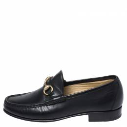 Gucci Black Leather Horsebit Loafers Size 40