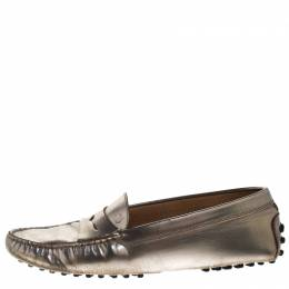 Tod's Metallic Leather Penny Loafers Size 36.5 Tod's