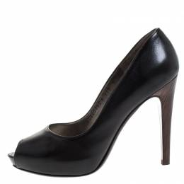 Salvatore Ferragamo Black Leather Fiordaliso Peep Toe Platform Pumps Size 38.5 262939