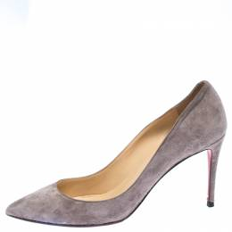 Christian Louboutin Grey Suede Pigalle Follies Pointed Toe Pumps Size 40.5 262420