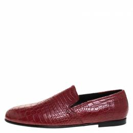 Dolce and Gabbana Red Crocodile Leather Smoking Slippers Size 44