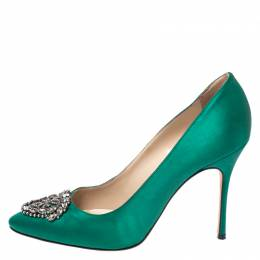 Manolo Blahnik Green Satin Okkaava Emerald Pumps Size 40 262881