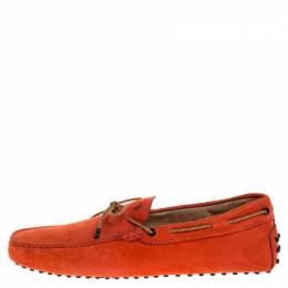 Tod's Orange Nubuck Leather New Gommini Loafers Size 42.5 Tod's