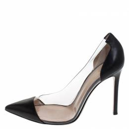 Gianvito Rossi Black Leather And PVC Plexi Pointed Toe Pumps Size 38.5