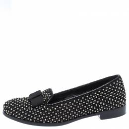 Sergio Rossi Black Crystal Embellished Fabric Bow Detail Flat Loafers Size 36.5