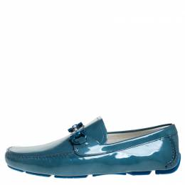 Salvatore Ferragamo	 Teal Patent Leather Gancio Driver Loafers Size 44.5