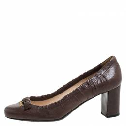 Prada Brown Leather Scrunch Bow Round Toe Pumps Size 37