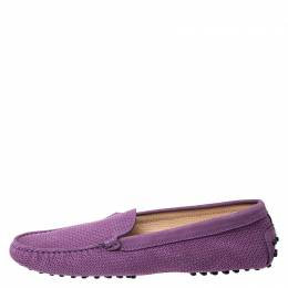 Tod's Purple Perforated Suede Loafers Size 40 Tod's