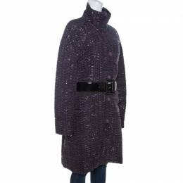 Emporio Armani Metallic Purple Textured Belted Coat M 260505