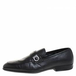 Salvatore Ferragamo	 Black Leather Gancini Loafers Size 43.5