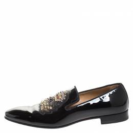 Christian Louboutin Black Patent Leather Studded Smoking Slippers Size 42.5
